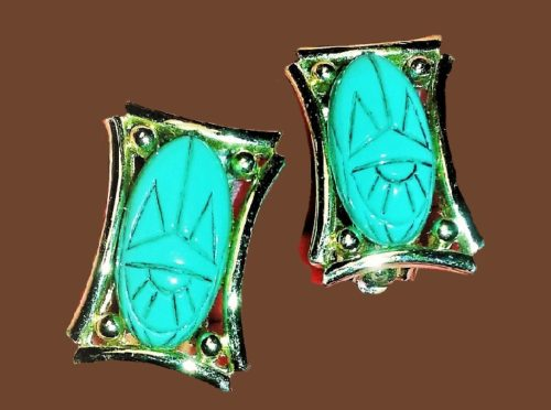 Turquoise Egyptian Queen Scarab Earrings. 1960s