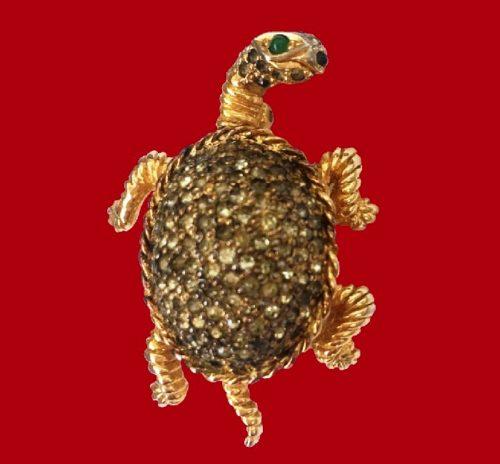 Turtle brooch. Silver, gilded, rhinestones. 1950s
