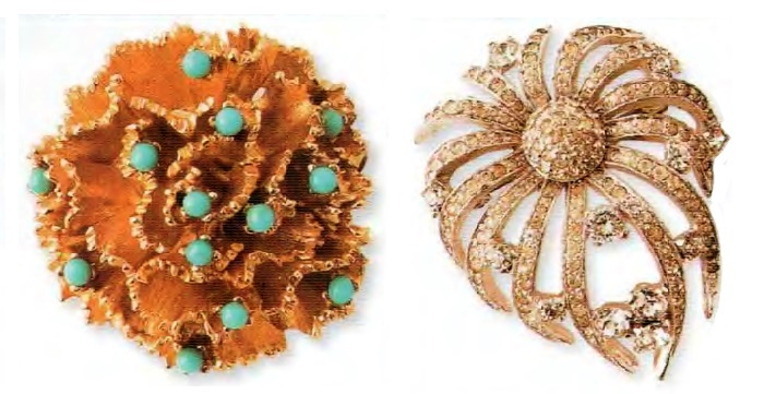 Two brooches. Left - Gold tone metal, glass beads. 1970s 7 cm. £ 15-25 BB. Right - Metal, gilding, transparent rhinestone. 1950s 4.5 cm. £ 145-155 BBG