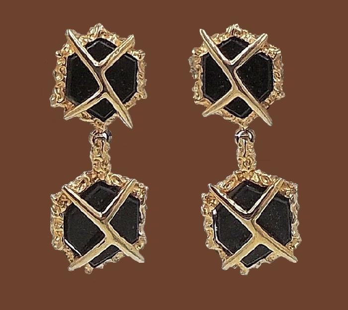 Vintage 1960s Modernist Faux-Onyx Rhinestone Drop Earrings