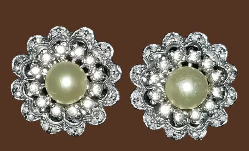 Vintage Signed Panetta Clip-On Earrings. Clear sparkling Rhinestones with a Center Faux Pearl