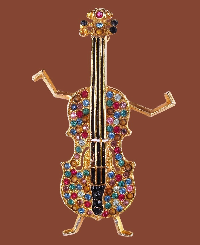 Violin brooch designed by Oreste Agnini and Mary C Granville on July 19, 1938