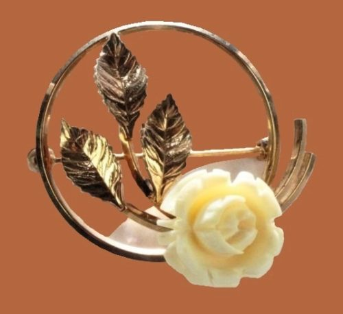 White Carved Flower Rose. Gold Filled brooch-pin