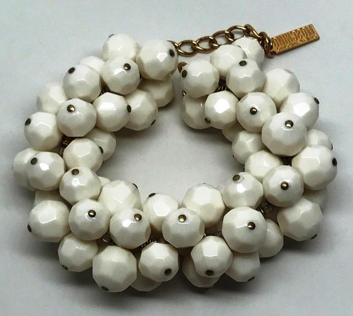 White Faceted Resin Beaded Bracelet