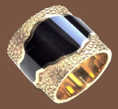 Wide metal enameled ring