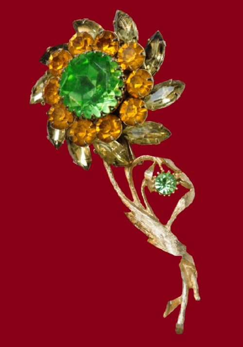 Yellow Orange Green Rhinestone Flower Brooch. 1950s