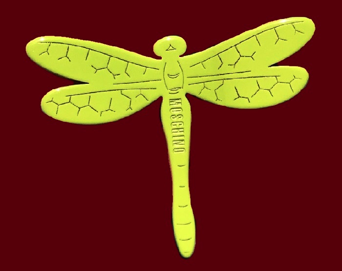 Yellow plastic dragonfly brooch