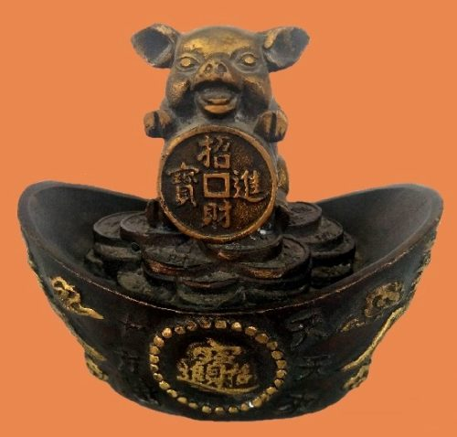 refined copper yellow Antique Zodiac Pig Statue, wealth of pig