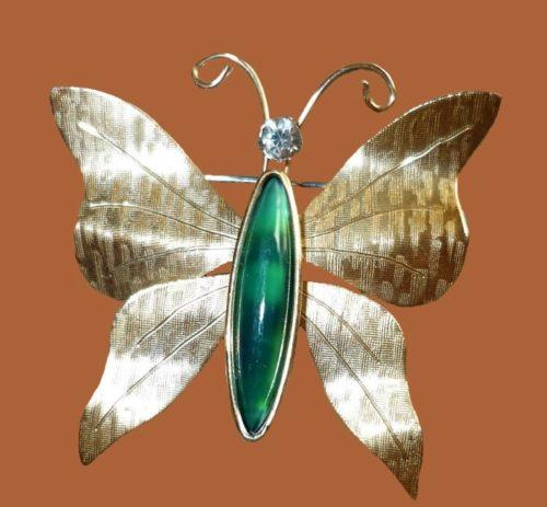 14K gold butterfly brooch. 1970s