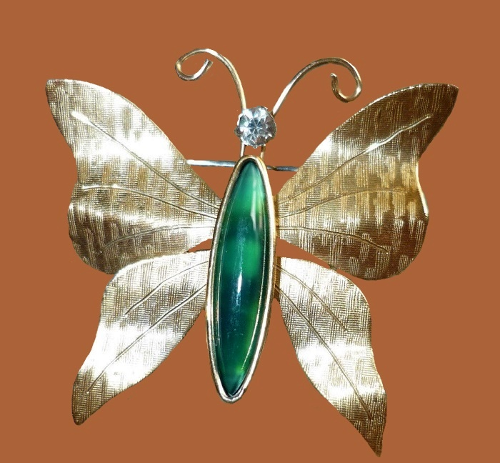 14K gold butterfly brooch. 1970s