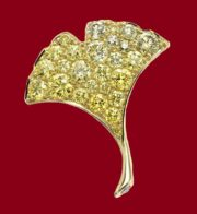 18K Yellow gold, Yellow diamond, Diamond flower brooch