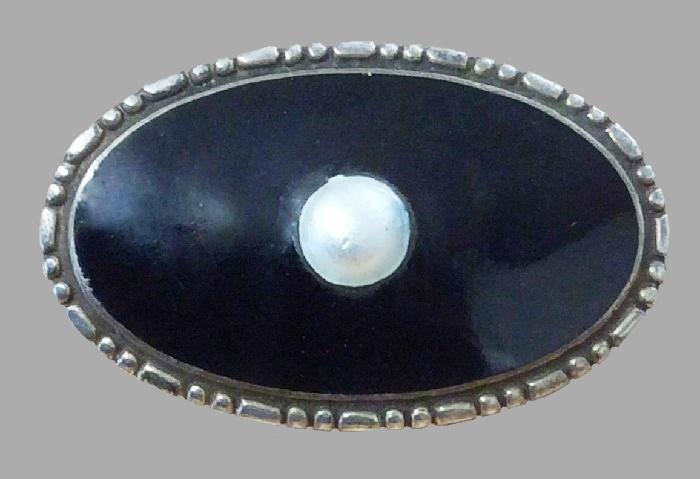 1920 Sterling silver, enamel and pearl brooch