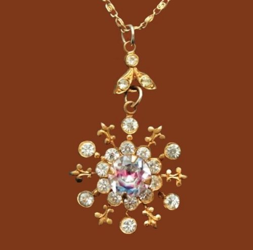 1940-1950s Emmons vintage pendant with chain. jewelry alloy, gilding, crystals