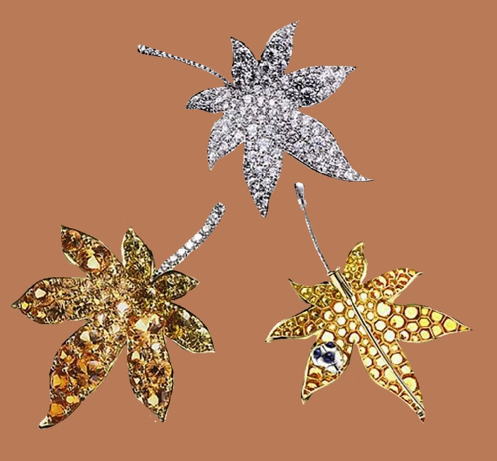 950 Platinum, 18K Yellow gold, Yellow diamond, Mandarin garnet, Sapphire automn leaf brooches
