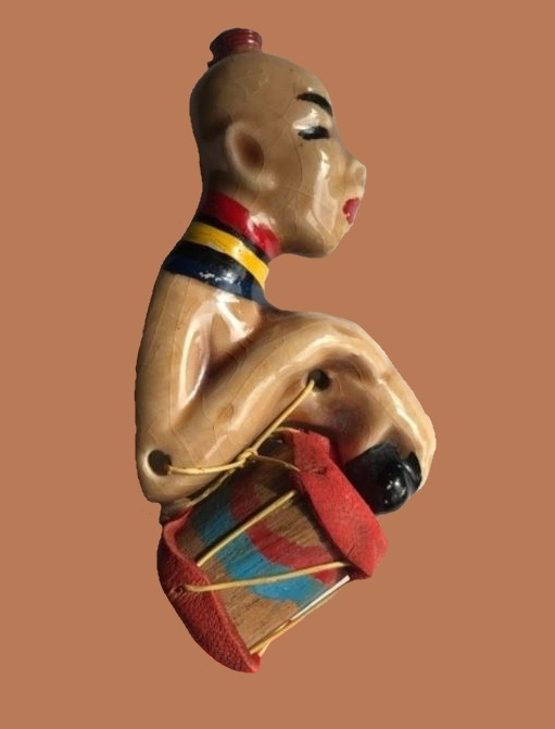African Drummer Boy Ceramic Brooch With Wood and Leather Drum