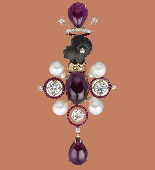 African motif brooch-pendant. Tony Duquette & Hutton Wilkinson