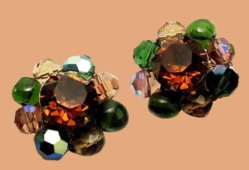 Amber Rhinestone Crystal Glass Earrings