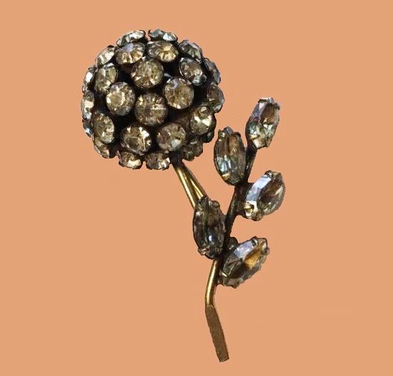 Amber Yellow rhinestone flower brooch