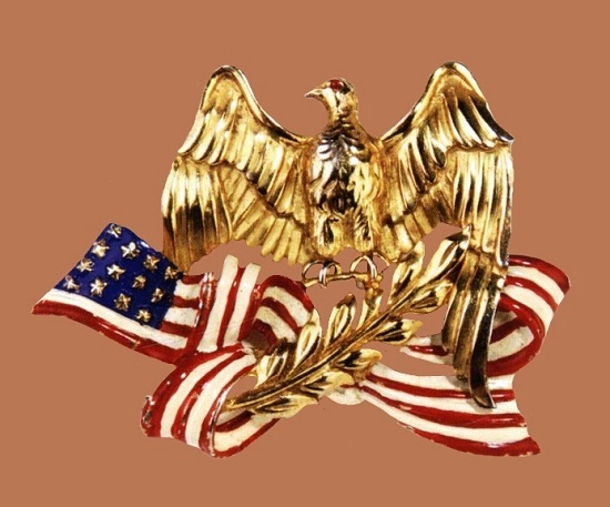 American Eagle, 1940. Designer Victor Silson. Gold-plated metal brooch, red, white and blue enamel, depicting the American on an olive branch which is ribbon that symbolizes the flag. 5.5x7.8cm