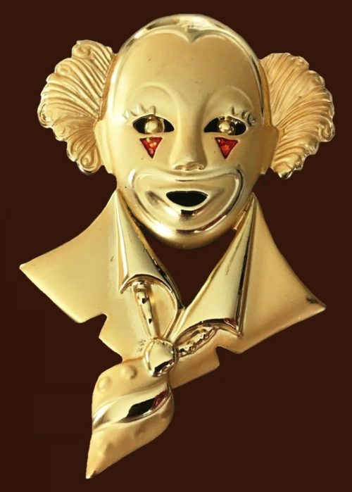 American vintage clown brooch. Jewelry alloy, 7 cm