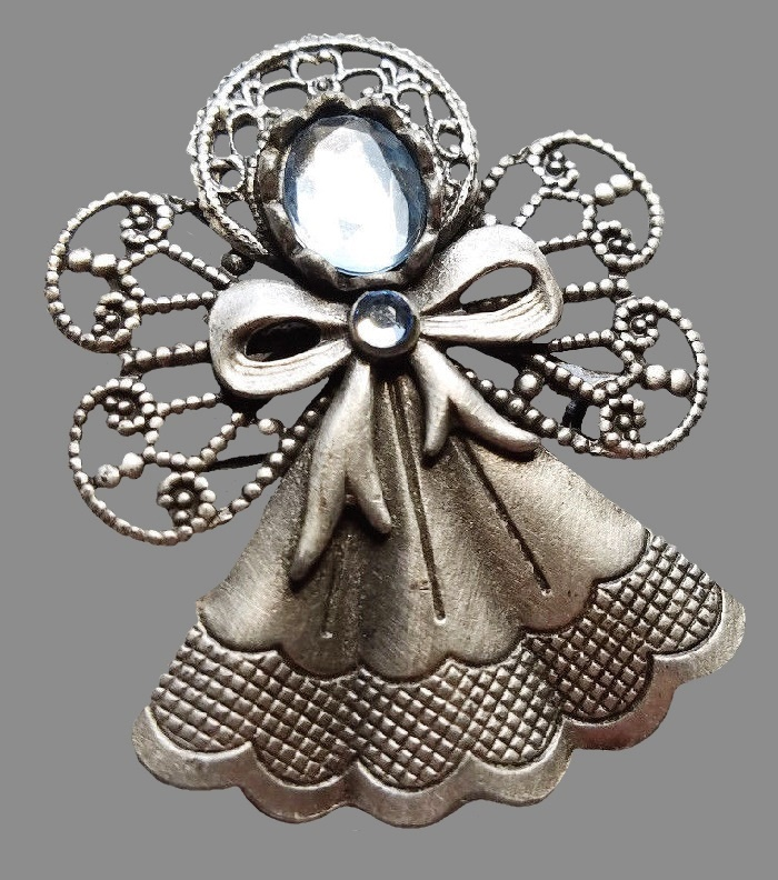 Angel brooch, silver tone brooch with light blue rhinestone