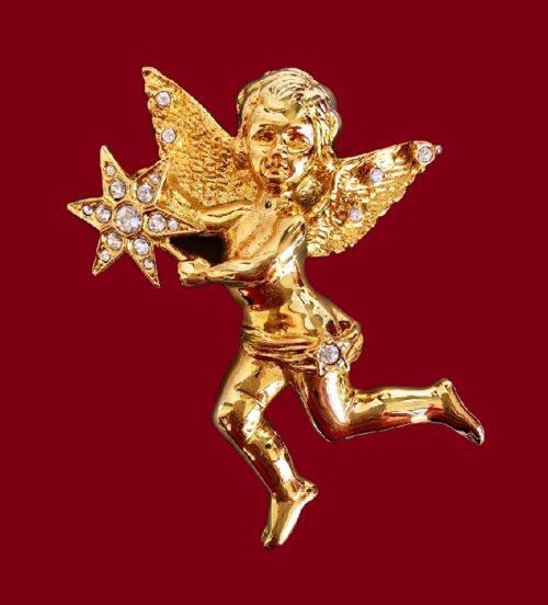Angel brooch. Jewellery alloy of gold tone, Swarovski crystals. 8 cm