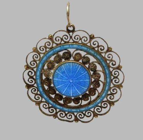 Antique Silver Enamel Pendant