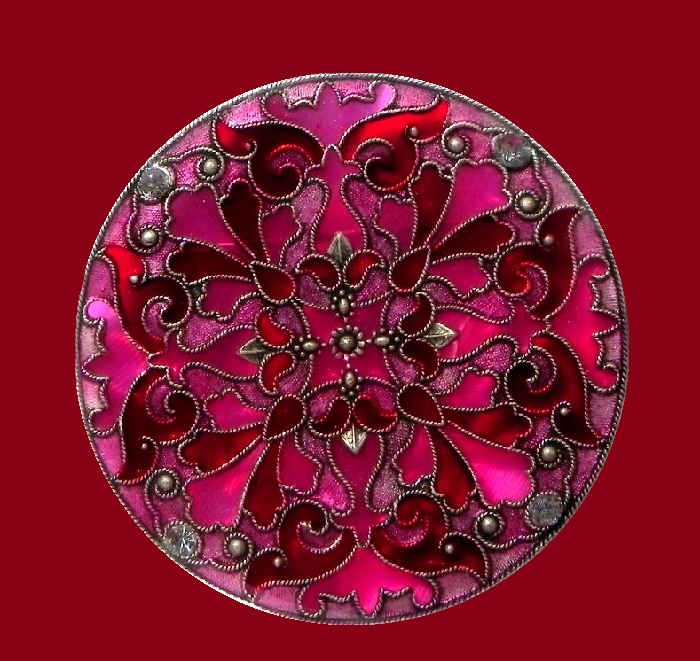 Arabesque Brooch, plique a jour, stained glass designs, jewelery alloy, colored enamels, silvering, crystals. The size of 5.6 cm