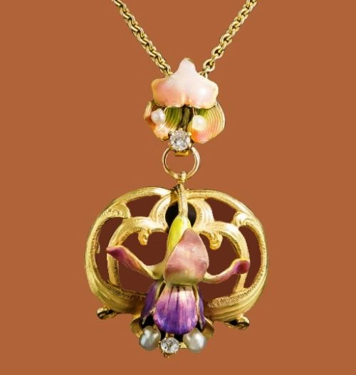 Art Nouveau Enameled Pendant by Krementz