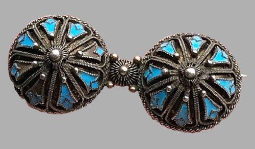 Art Nouveau Jugendstil enamel and silver Brooch