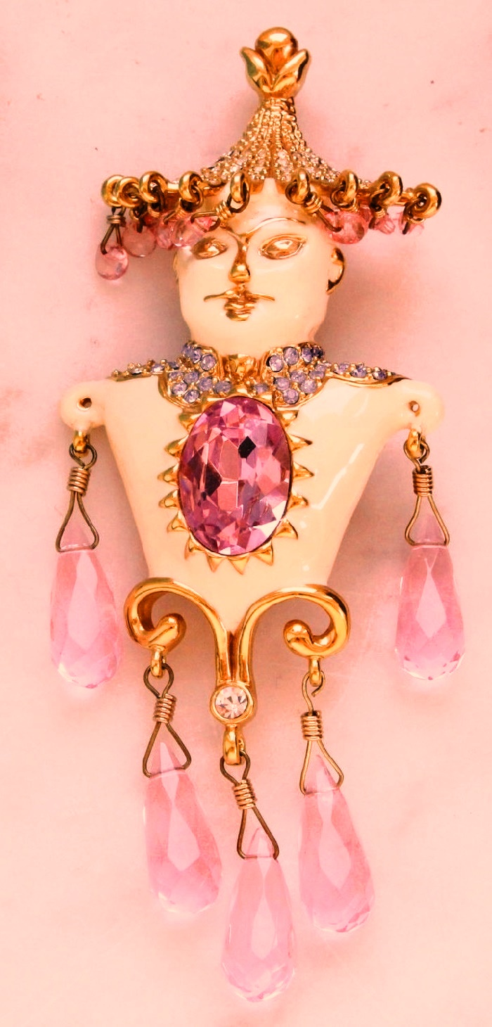 Asian Princess. Figural vintage pendant brooch. Enamel, crystals, glass. 10.5 cm