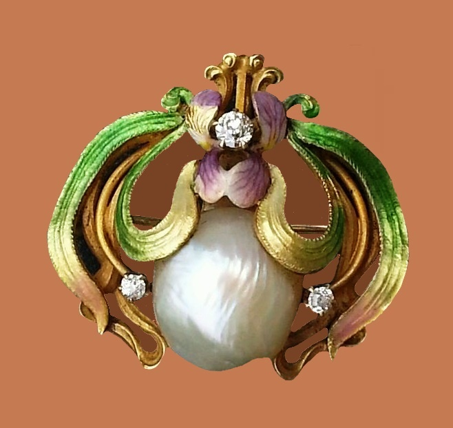 Baroque pearls and enamel gold brooch. 1960s
