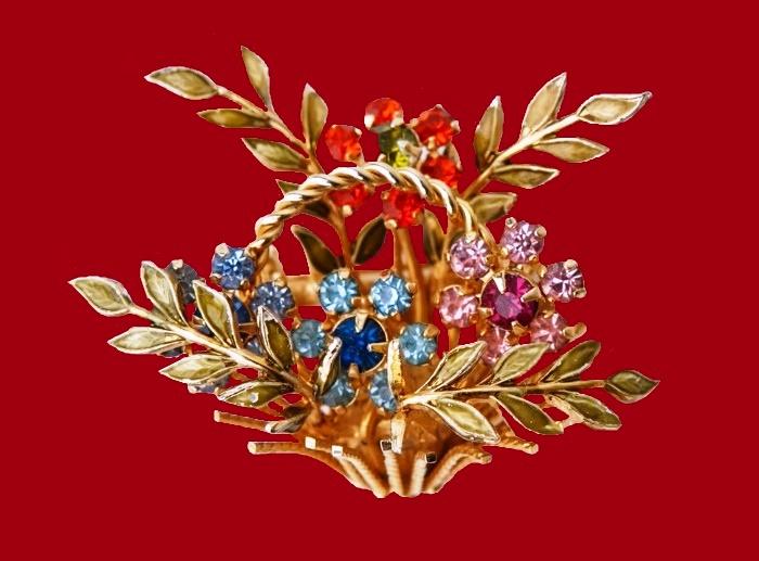 Basket of flowers. Jewellery alloy, rhinestones, 1960s