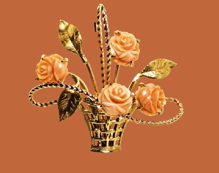 Basket of roses brooch. Coral, gold plated metal