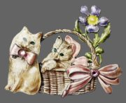 Basket with flowers and cats enameled brooch