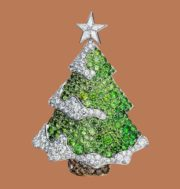 Beautiful Christmas tree. 950 Platinum, 18K Yellow gold, Mandarin garnet, Yellow diamond, Diamond, Sapphire