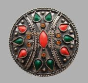 Beautiful brooch-pendant. Alloy metals, jewelry alloy, cabochon for jewelry, Swarovski crystals