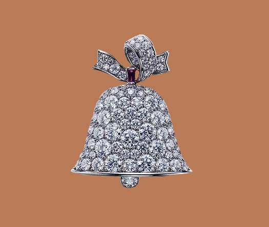 Bell brooch, Christmas theme. Platinum, diamond and demantoid garnet brooch