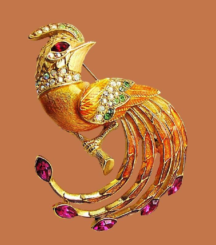 Bird of paradise brooch. Gold plated, rhinestones, crystals, enamel
