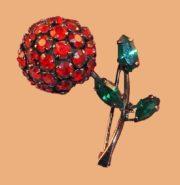 Black and red apple brooch, gold-tone metal, rhinestone, enamel