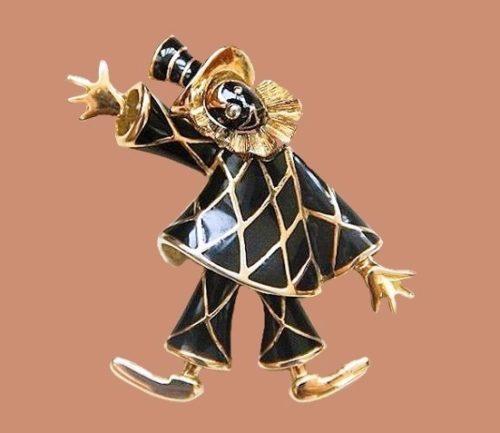 Black enamel vintage brooch Clown