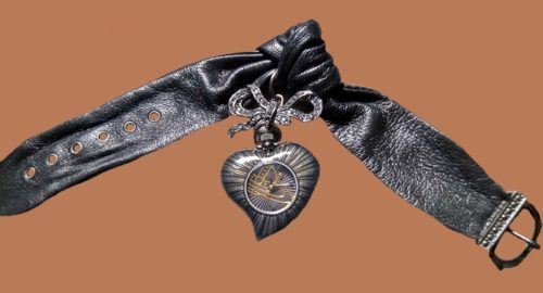 Black heart watch, bracelet