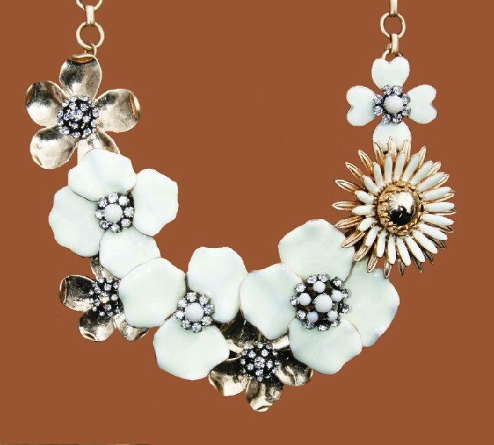 Bloom necklace, hand painted enamel flowers with czech stones and an antiqued gold plated chain