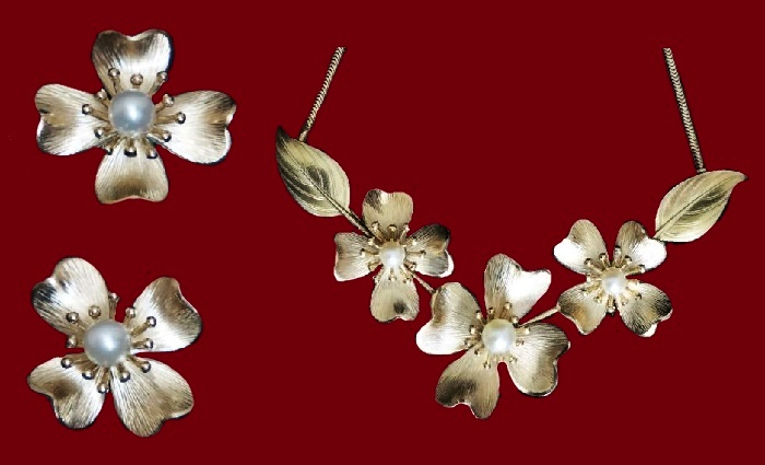 Blooming Apple Necklace and Earrings