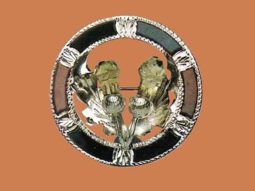 Blue, brown, black agate, green glass silver brooch. 1890s w 6.5 cm £ 100-120 GS