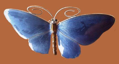 Blue butterfly enameled brooch, sterling silver