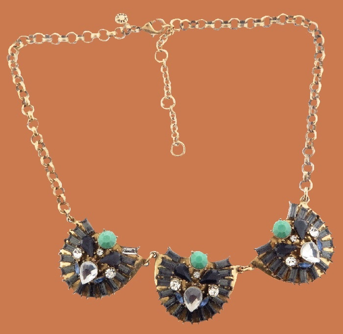 Blue crystal rhinestone statement necklace