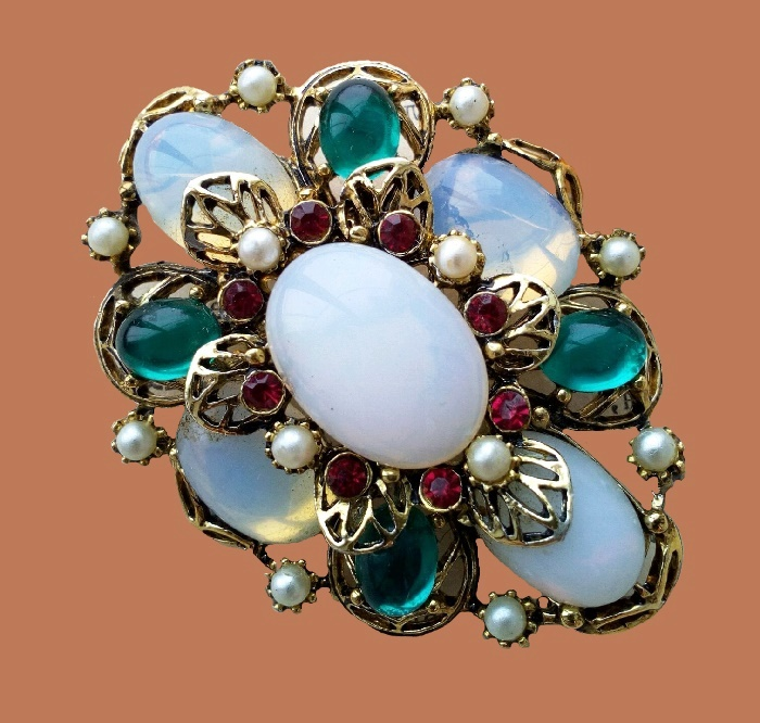 Blue glass, faux pearls brooch. Jewellery alloy, 1970s