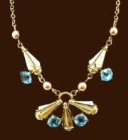 Blue topaz, 10 K gold vintage necklace