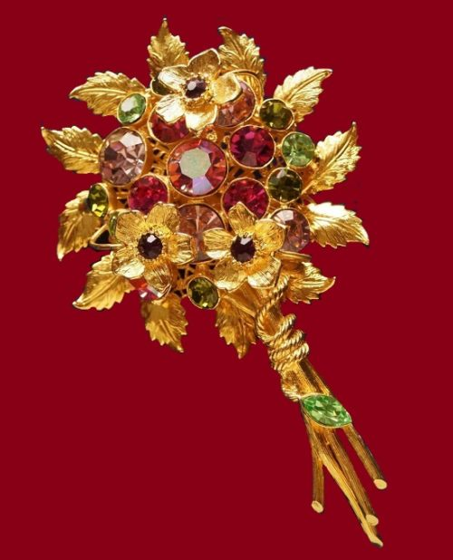 Bouquet vintage brooch. Gold tone jewelry alloy, crystals, glass, aurora borealis. 11 cm